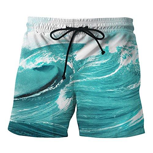 OSYARD Herren Beiläufige Gedruckte Strand Arbeit Zufällige Männer der Männer Kurze Hosen Kurze Hosen(XL, Blau) (Bootcut-hose Petite)