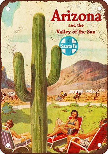 Vintage-looking reproduction metal poster from Santa to Arizona, 30,5 x 45,7 cm
