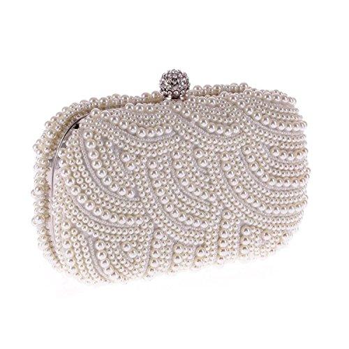 La Donna Di Sera Di Modo Pacchetto Sacchetto Del Poliestere Pochette Perla Perline Fatti A Mano Tenendo Silver