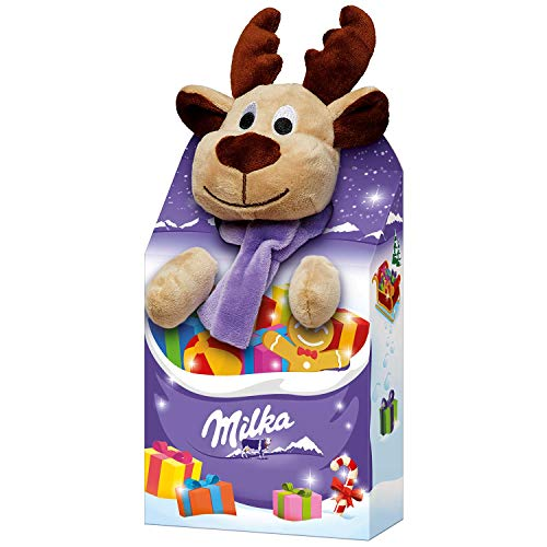 Milka Schokoladen Mischung MAGIC MIX - WEIHNACHTS EDITION mit Plüschtier (5 - tlg. / 96 Gramm) PLÜSCHTIER FREI WÄHLBAR (ELCH) -