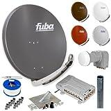 Fuba HD Sat-Anlage 12 Teilnehmer   DAA 850 Aluminium Sat-Antenne + DEK 406 + FMQ 512 + Antennenmast + Koaxialkabel + Stecker