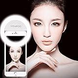 Mindkoo LED Selfie Anneau Macro-clip Equipé de 36 LED Haute luminosité Super Brillant Eclairage Supplémentaire 3 niveau de lumière ajustable compatible avec plupart téléphone portable et tablette iPhone/iPad/Huawei/Samsung/Xiaomi/Nokia Couleur Blanc