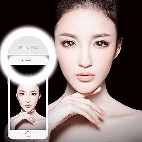 Mindkoo LED Selfie Anneau Macro-clip Equipé de 36 LED Haute luminosité Super Brillant Eclairage Supplémentaire 3 niveau de lumière ajustable compatible avec plupart téléphone portable et tablette iPhone/iPad/Huawei/Samsung/Xiaomi/Nokia Couleur