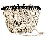 Rrock Frauen Handtasche Stroh Tasche Haar Ball Spitze Strand Tasche Einfarbig Einfache Umhängetasche Messenger Tasche Weben Zweifarbig,Beige