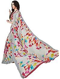 Salwar Studio Women's Multicolor Crape Silk Geometric Printed Saree With Blouse Piece-ADAA-6412