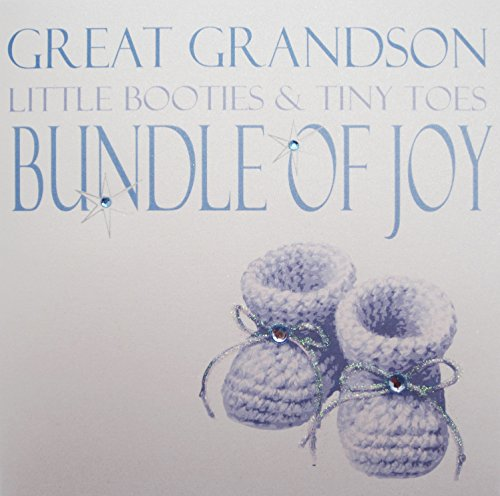 """Used, White Cotton Cards """"Great Grandson Little Booties & for sale  Delivered anywhere in UK"""