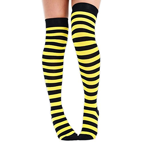 Damen 3Streifen über dem Knie Socken & Full Streifen über das Knie Socken, schwarz/gelb, UK 4-6.5 (Streifen-knöchel-socken Zwei)