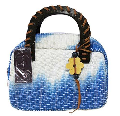 Blue & White Raffia Straw Satchel Handbag