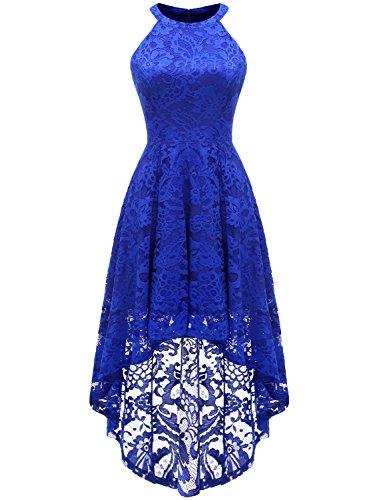 Dressystar Vokuhila Kleid Cocktail Spitzenkleid Halter Sexy Schulterfrei Ballkleid Royalblau L