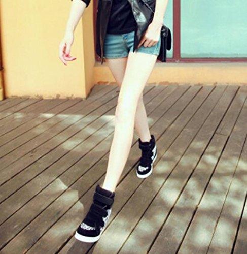 92272c13b6 ... Padgene Baskets Mode Compensées Scratch Suede Nylon Sneakers Hautes  Chaussures de ville Leopard Femme noir léopard