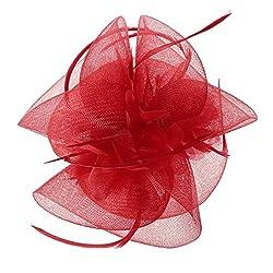 Tocado pelo boda flor con plumas color rojo