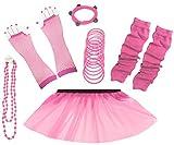 A-Express 80er Damen Neon Tütü Rock Ebene Beinstulpen Handschuhe Halskette Tüll Fluo Ballett Verkleidung Party Tutu Rock Kostüm Set (46-54, Hellrosa)