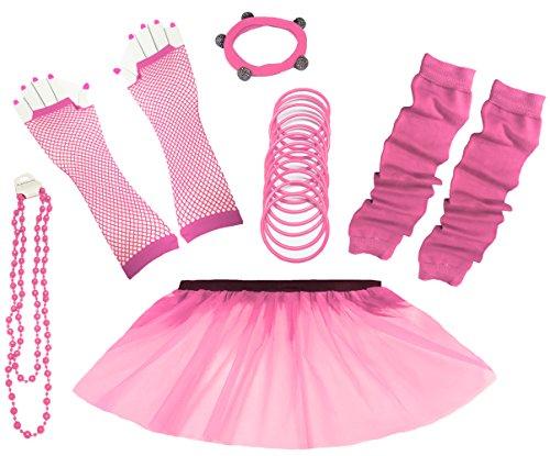 a-express-80er-damen-neon-tutu-rock-ebene-beinstulpen-handschuhe-halskette-tull-fluo-ballett-verklei