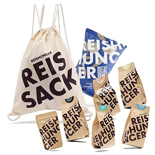 Reishunger Fitness Beutel (8-teilig, 200g/50/10g) Verschiedene Reis- und Bio-Produkte im praktischen Turnbeutel - Perfekt als Geschenk für Sportler -