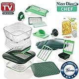 Genius Nicer Dicer Chef | 18 Teile inkl. Glasschüssel-Set | Obst & Gemüseschneider | Bekannt aus TV | NEU