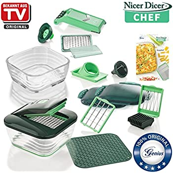 genius nicer dicer chef kit deluxe 34 pi ces schneider de fruits l gumes connu en tv. Black Bedroom Furniture Sets. Home Design Ideas