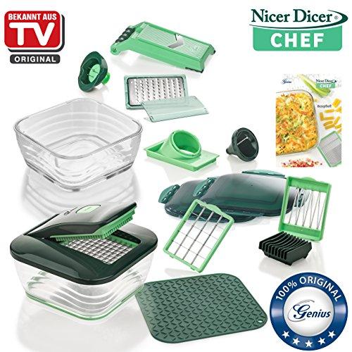Genius Nicer Dicer Chef | 18 Teile inkl. Glasschüssel-Set | Obst & Gemüseschneider | Bekannt aus TV | NEU Spirale Slicer-mandoline
