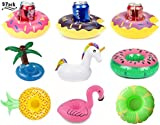 Unicorn Float Flamingo Drink Holders Donut Fruit Inflatable Pool Cup Holders, Inflatable Drink Float Boats Pool Floats Inflatable Floating Coasters for Pool Party Water Fun