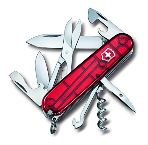 Messer Jagd Gute (Victorinox Taschenmesser Climber (14 Funktionen, Schere, Mehrzweckhaken, Korkenzieher, Lebenslange Garantie) rot Transparent B1)