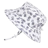 Unisex Packable Toddler Sun Protection Hat 50 UPF, Adjustable, Stay-on Tie (M: 6-30m, Bucket Hat: White Pineapple)