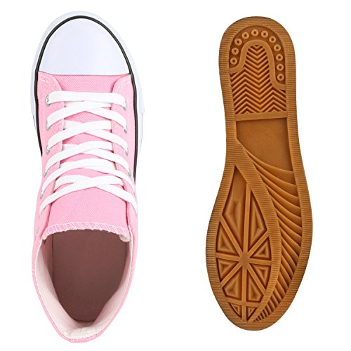Freizeit Damen Sneakers High Canvas Schuh Rosa