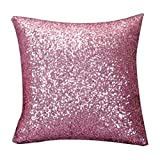 SMILEQ Einfarbig Glitter Pailletten Dekokissen Fall Cafe Home Decor Kissenbezüge (Rosa)