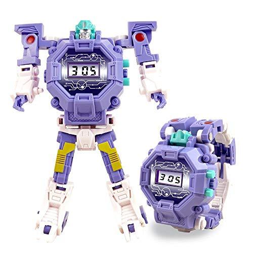 FOONEE 2-in-1-Roboter-Uhr, Spielzeug-Roboter-Uhr, Digitale elektronische Uhr zur Verformung, Roboter-Spielzeug für 3-12 Jahre alte Jungen Mädchen - kreatives Lernen, Weihnachts-Spielzeug (Violett)