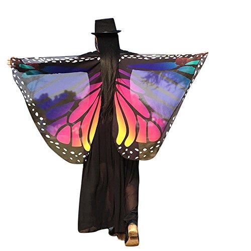 Schmetterlings Flügel Schals, VEMOW Frauen 145 * 65CM Weiches Gewebe Fee Damen Nymph Pixie Halloween Cosplay Weihnachten Cosplay Kostüm Zusatz(X6-Dunkelblau, 197 * ()