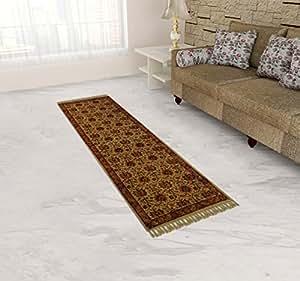 V R Carpets Cotton Kalamkari Design Handloom Carpet - 35.1 Inches x 23.4 Inches, Multi-Colored