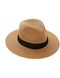 6d6008f9 iHomey Panama Straw Sun Hat Women & Men Foldable Wide Brim Beach Sun Caps