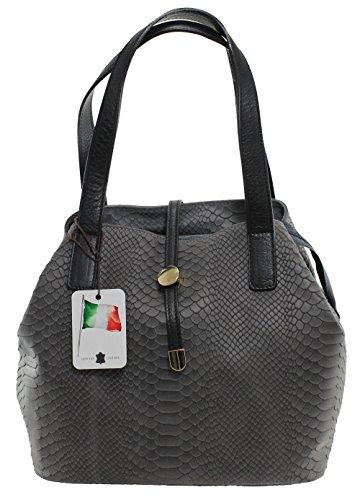 Sacs à main Sac pour femmes, Satchel avec imprimé python, 30x24x13cm, 100% cuir véritable Fabriqué en Italie