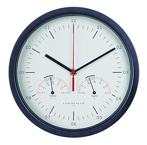 L'ATELIER DU VIN - Horloge Hygro-Thermo - Mesurer la Température et l'Humidité de Votre Cave - Pile AAA Incluse
