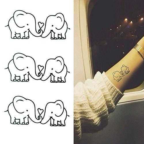 FCTGY 1 Stück niedlichen Cartoon Baby Elefant Liebe Muster Flash Tattoos Mode wasserdicht abnehmbare Tattoo Aufkleber Haut Tags
