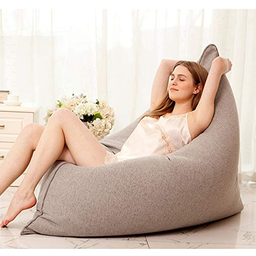 JKYQ Wolle Hemp Fabrics Beanbag Chair Huge Bed Large Sofa Cozy Lounger for Kids Adults Teens Indoor Outdoor 110CM*140CM,Gray
