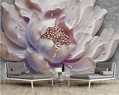 3D Tapete Wandgemälde Benutzerdefinierte Raumdekoration 3D Wallpaper Geprägte Pfingstrose Juwel Blume Tv Nachttisch Hintergrund Wand Seidentuch Kleber senden (Juwel-kleber)
