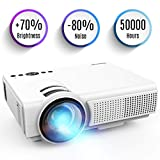 Projecteur, TENKER Q5 Mini Projecteur Video +20% Lumens Full HD 1080p Projecteur LED Portable Soutien HDMI USB TF VGA AV pour iPhone iPad Smartphone TV Xbox PC, Blanc