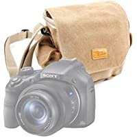 DURAGADGET Light Brown Medium Sized Canvas Carry Bag for Sony DSC-HX400VB.CE3 / DSC-H400 Compact / DSC-H300 SLR Camera - With Multiple Pockets & Customizable Interior Compartment