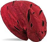 styleBREAKER Beanie Mütze im Destroyed Vintage used Look, Slouch Longbeanie, Unisex 04024036, Farbe:Bordeaux-Rot-Schwarz