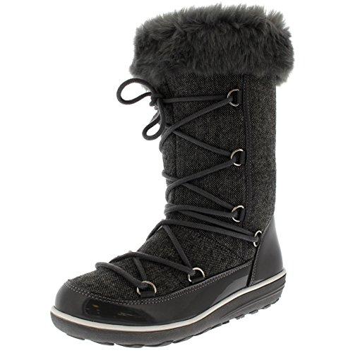 Damen Kunstpelz Thermal Warm Winter Schnee Regen Wasserdicht Knie hoch Stiefel - Grau - UK6/EU39 - YC0479 (Hohe Knie Stiefel)