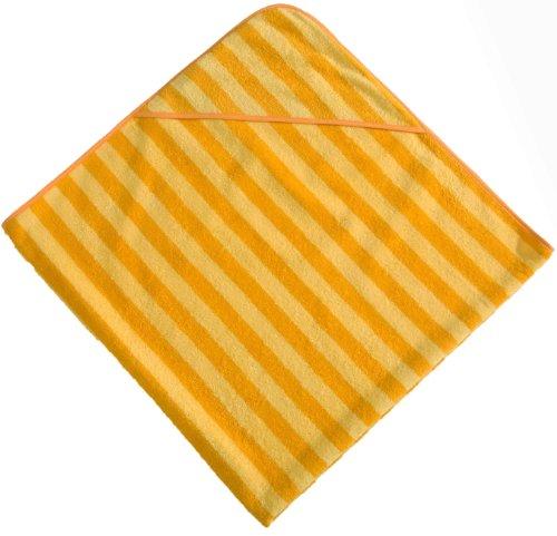 Morgenstern, Kapuzentuch 140x140 cm, gelb/dunkelgelb gestreift, ohne Stickerei, 100% Baumwolle, (Gestreiften Badelaken)
