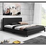 Muebles Bonitos - Cama de matrimonio Luna en color negro (135x190cm)