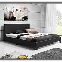 Muebles Bonitos – Cama de matrimonio Luna (180x200cm) negro
