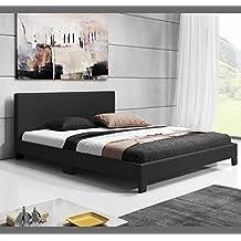 Muebles Bonitos - Cama de matrimonio Luna en color negro (160x200cm)