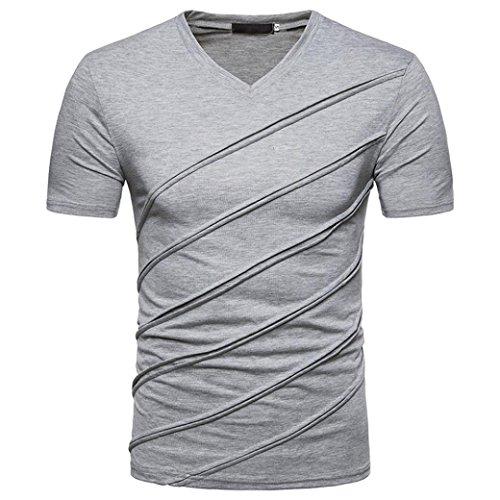 Preisvergleich Produktbild SUCES Herren T-Shirt V-Ausschnitt Slimfit Stretch Dehnbare Passform Einfarbiges Basic Shirt Herren Sportshirt Funktionsshirt Kurzarm für Sport Feuchtigkeitsabführend (2XL(Asian XXL=EU XL), Gray)