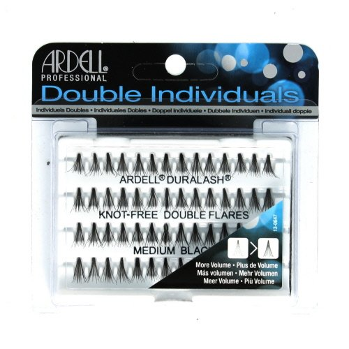 (3 Pack) ARDELL Professional Double Individuals Knot-Free Double Flares - Medium Black