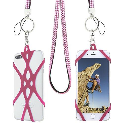 Handy Lanyard Band, Gear Beast Bling Fashion Universal Smartphone Schutzhülle Halterung Lanyard Halskette Gurt für iPhone X 876S 6Plus Galaxy S8Plus S7S6Edge Note 85Smart Jitterbug und mehr, hot pink (Pokemon Karte-reise-etui)