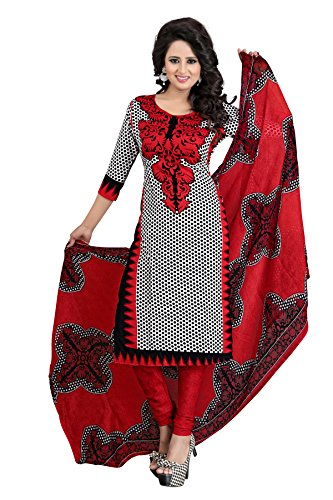 Shree Rajlaxmi Sarees Women's Red Printed French Crepe Regular Wear Unstitched Dress Material (rl-red-anju)