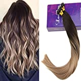 LaaVoo 22Pouce 1G Extensions a Froid Cheveux Naturel Nano Tips Balayage Brun Fonce #2 Ombre Cendre Blonde #18 Cold Fusion Hair Extension Stick Total 50Gramme
