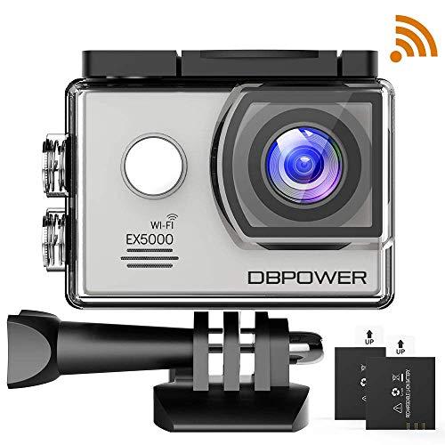 DBPOWER Action Cam WiFi 14MP 1080P Full HD Impermeabile 30M Fotocamera Subacquea con Schermo 2 Pollici 170 Gradi Ampia Vista Grandangolare, EIS, 2 batterie e Kit Accessori (Argento)