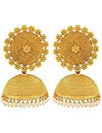 Traditional Bollywood Designer Gold Plated Pearl Jhumka Jhumki Earring Set For Women's Wedding Wear Jewellery